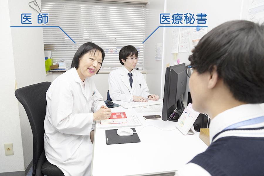 医師 1名につき医療秘書を 1名配属しております。
